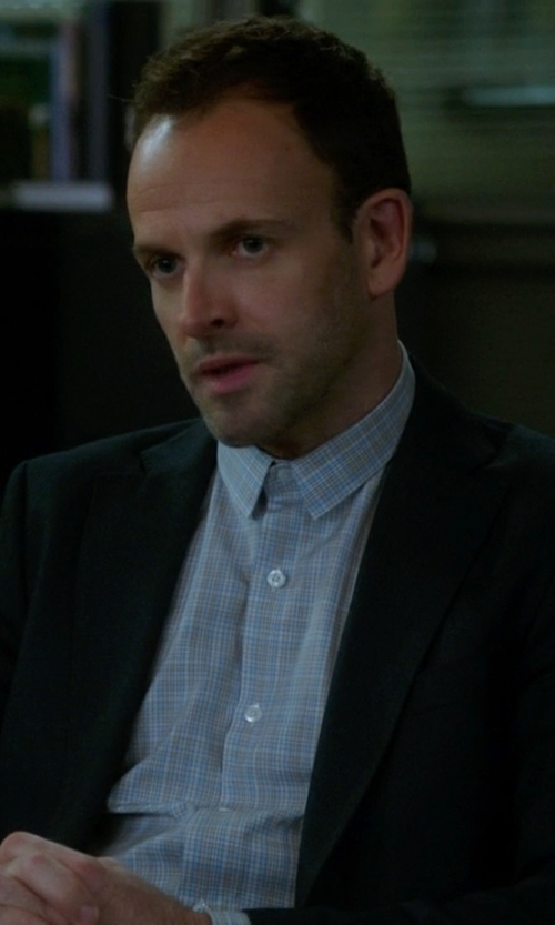 Jonny Lee Miller with Z Zegna Wool Two-Button Suit in Elementary