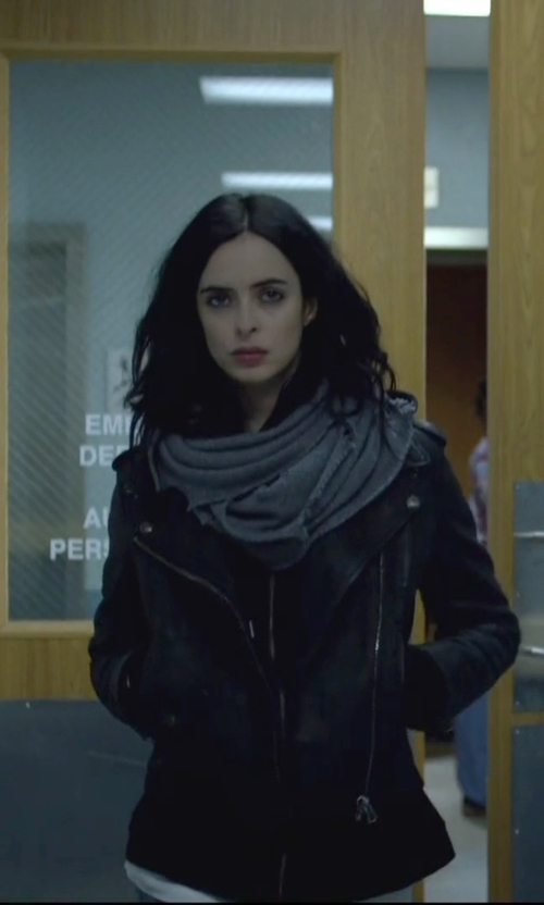 Krysten Ritter with Wyatt Seed Knit Wool Blend Minerva Infinity Scarf in Jessica Jones