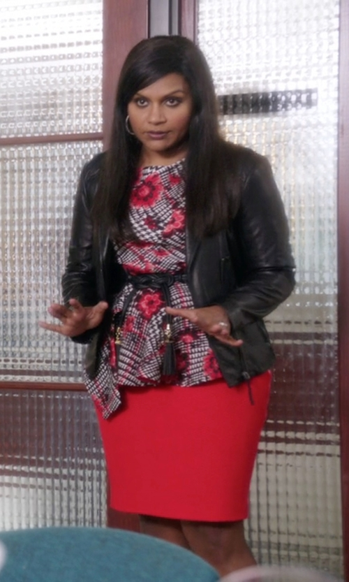 Mindy Kaling with Oscar De La Renta Wool and Silk-Blend Jacquard Peplum Top in The Mindy Project