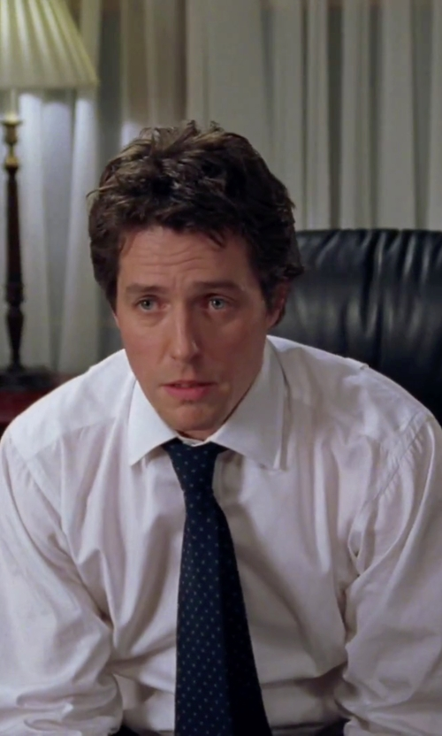 Hugh Grant with Todd Snyder White Label Dot Wool & Silk Tie in Love Actually