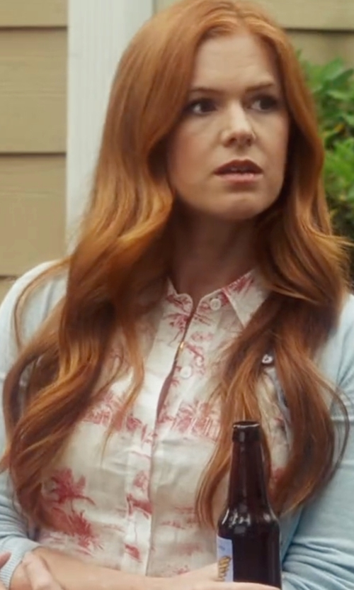 Isla Fisher with Equipment Henri Button-Front Floral-Print Blouse in Keeping Up with the Joneses