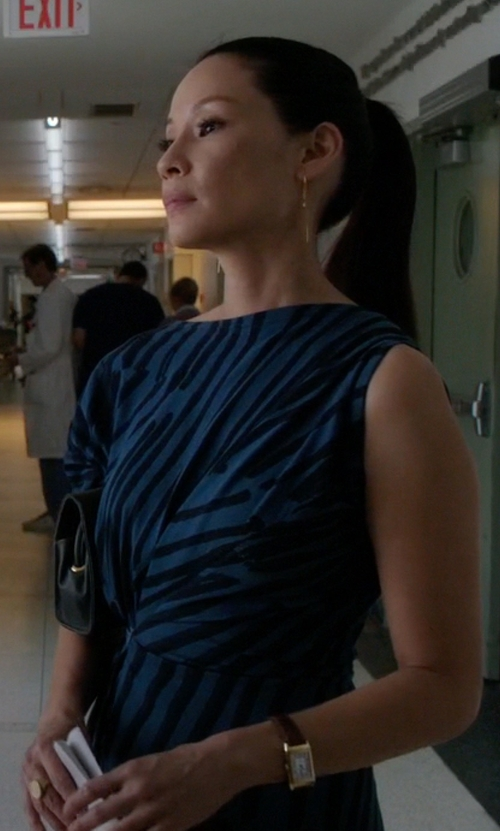 Lucy Liu with Cartier Tank Louis Cartier Watch in Elementary