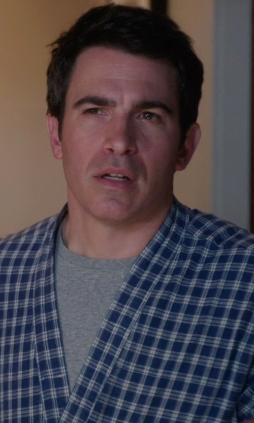 Chris Messina with Hanes Shawl Plaid Robe in The Mindy Project