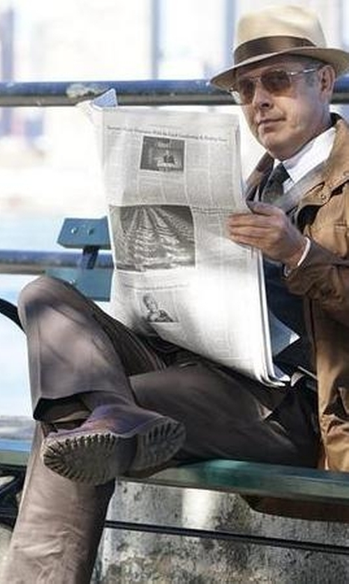 James Spader with Hugo Boss Grey Slim Fit Virgin Wool Flannel Trousers in The Blacklist