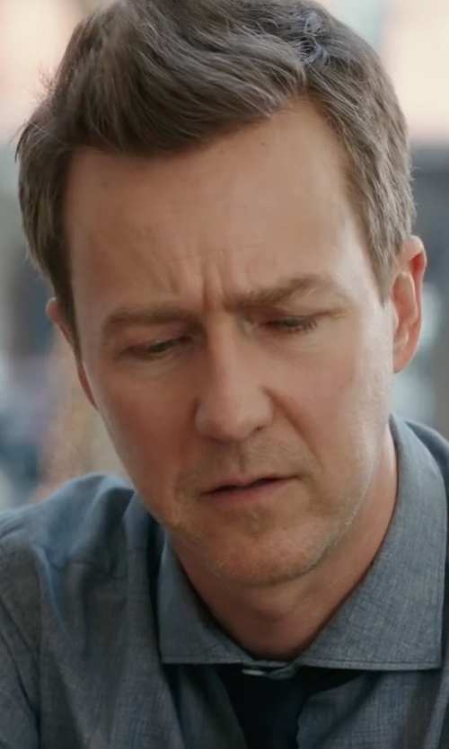 Edward Norton with Ermenegildo Zegna Long-Sleeved Cotton Polo Shirt in Collateral Beauty