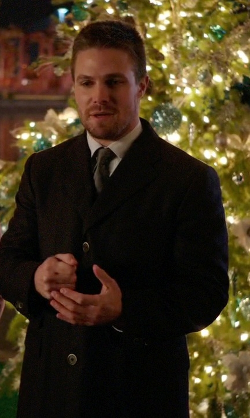 Stephen Amell with Ami Alexandre Mattiussi Classic Overcoat in Arrow