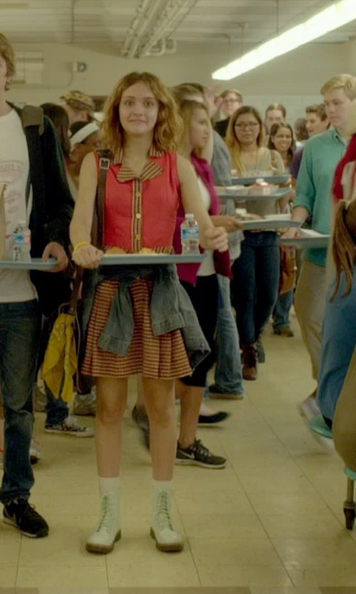 Olivia Cooke with Kate Spade New York Striped Mini Skirt in Me and Earl and the Dying Girl