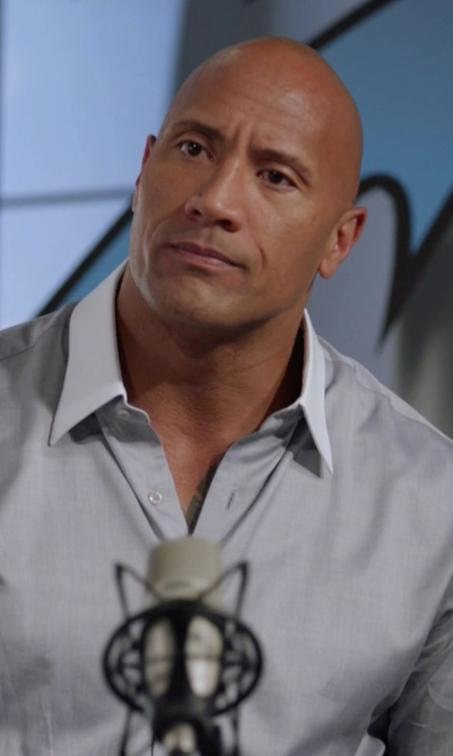 Dwayne Johnson with Brioni Contrast-Collar Multi-Stripe French-Cuff Dress Shirt in Ballers