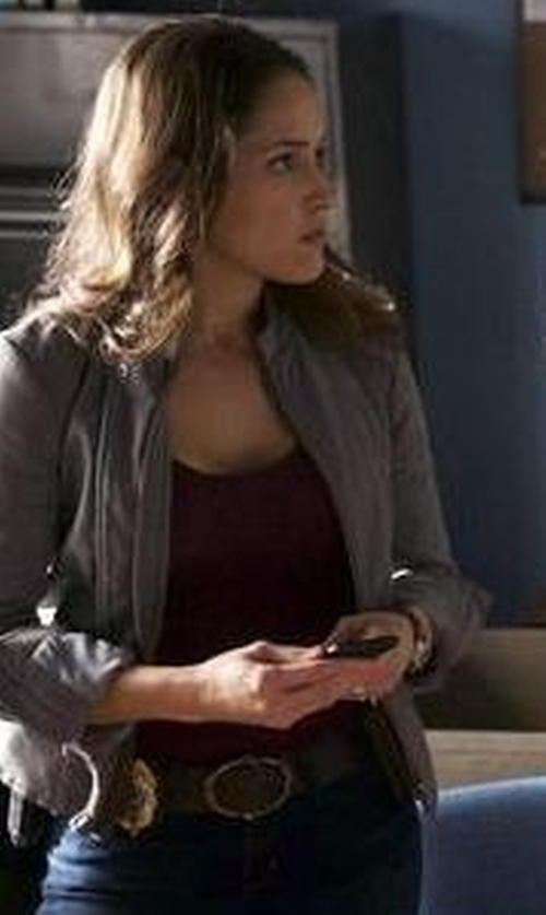 Jaina Lee Ortiz with Stonewear Designs Double-Cross Scoop Neck Hiking Tank Top in Rosewood