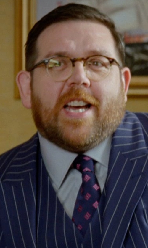 Nick Frost  with Moschino No Smoking Print Silk Jacquard Tie in Unfinished Business