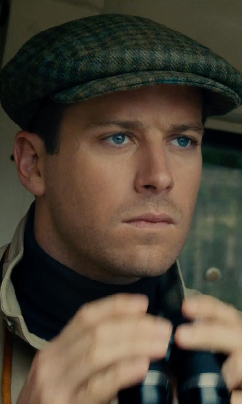 Armie Hammer with Joanna Johnston (Costume Designer) Custom Made W. Bill Wool Check Ivy Cap in The Man from U.N.C.L.E.