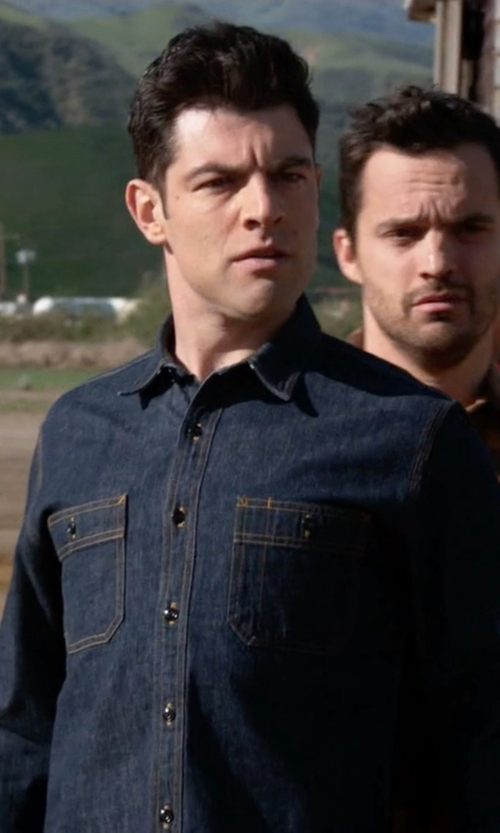 Max Greenfield with J.Crew Selvedge Denim Shirt in New Girl