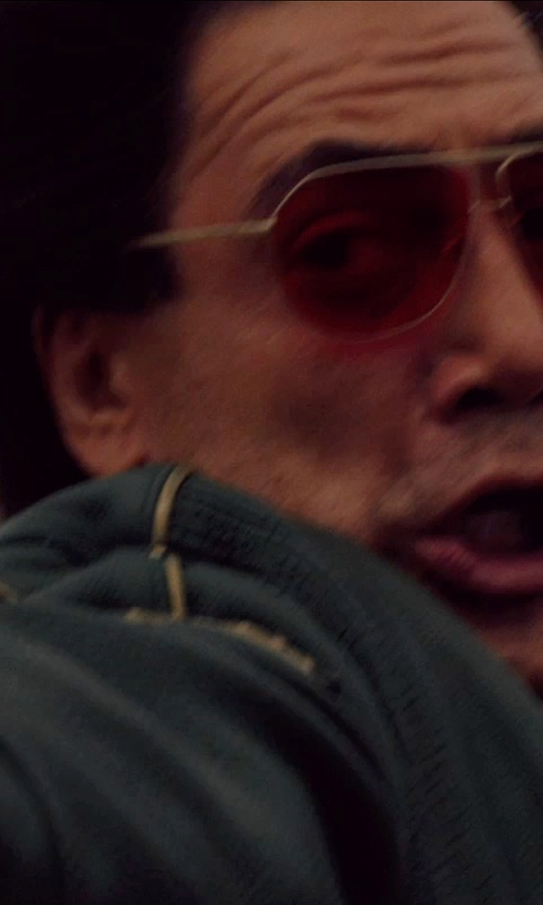 Javier Bardem with Salvatore Ferragamo Gold Red Enamel Sunglasses in The Counselor