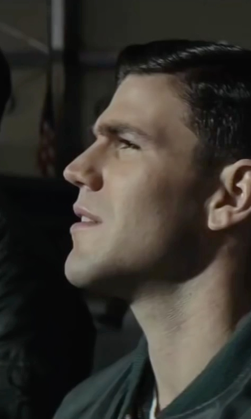 Austin Stowell with Levi's Faux-Leather Varsity Bomber Jacket in Bridge of Spies