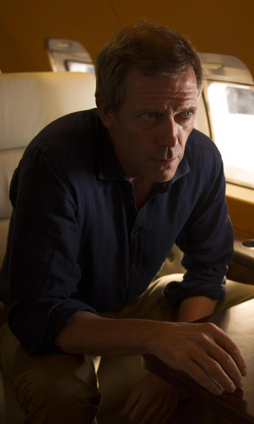 Hugh Laurie with Stone Rose Textured Button Down Shirt in The Night Manager