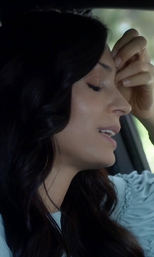 Famke Janssen with Topshop Lace Inset Tie Neck Blouse in How To Get Away With Murder