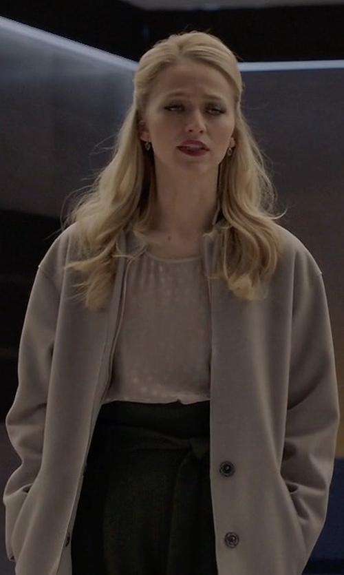 Johanna Braddy with Lafayette 148 New York Two-Tone Matte-Crepe Cardigan Coat in Quantico