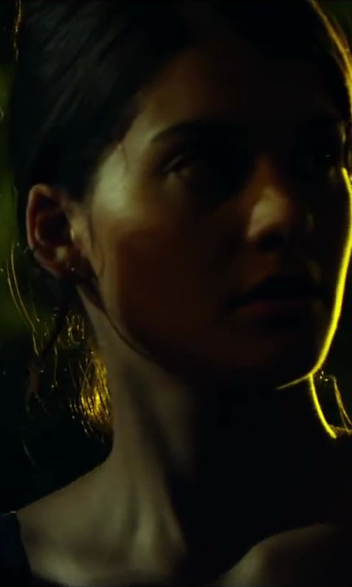 Sofia Black-D'Elia with Simon Sebbag Square Hoop Clip Earrings in Project Almanac