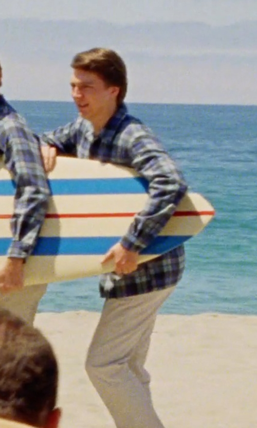 Paul Dano with Billabong Coldfront Plaid Flannel Shirt in Love & Mercy