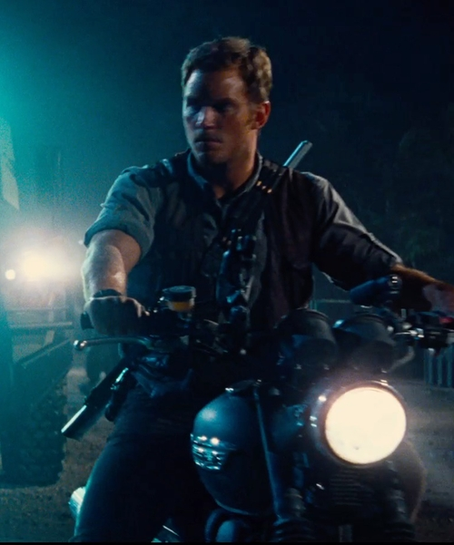 Chris Pratt with Triumph Scrambler Motorcycle Bike in Jurassic World