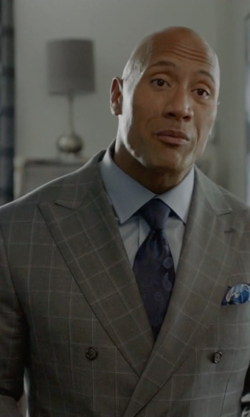 Dwayne Johnson with Larusmiani Checked Wool & Cashmere Blend Suit in Ballers