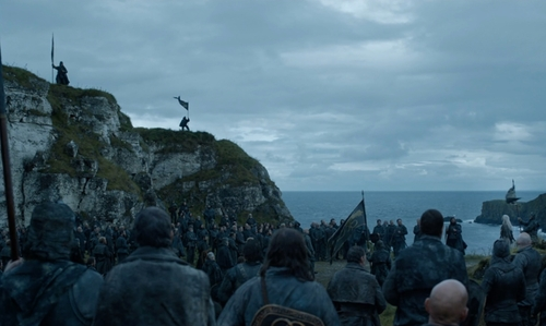 Unknown Actor with Ballintoy Rope Bridge (Depicted as The Iron Islands) Moyle, United Kingdom in Game of Thrones