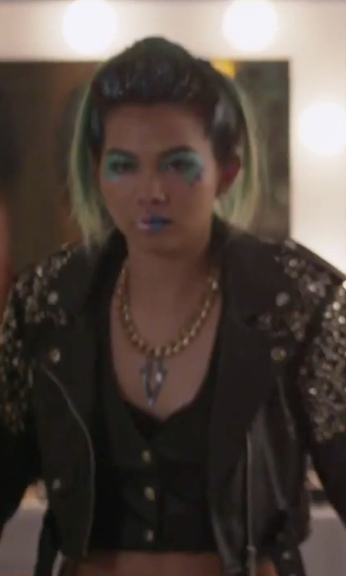 Hayley Kiyoko with TheMogan Back Strap Slim Waistcoat Vest in Jem and the Holograms