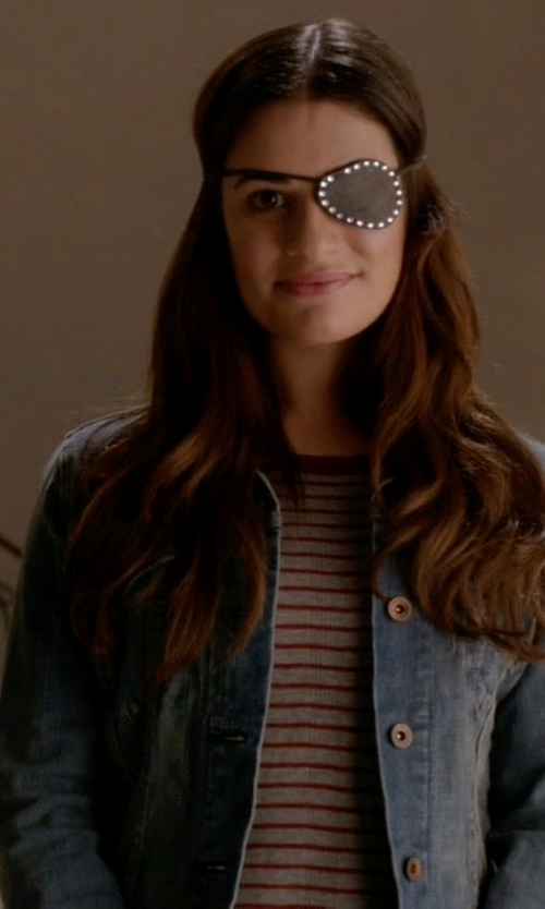 Lea Michele with Madewell Soundcheck Ringer Stripe Tee in Scream Queens