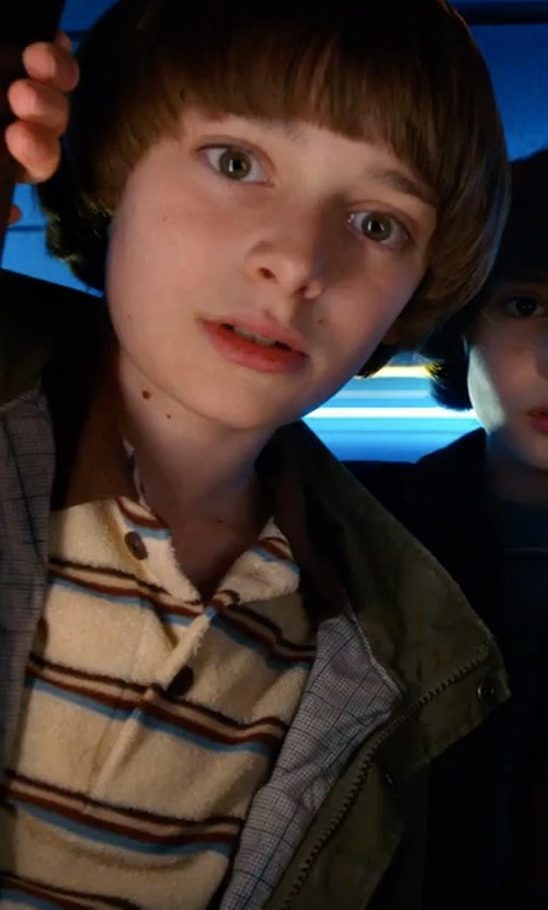 Noah Schnapp with Mountain Khakis Sunset Polo Shirt in Stranger Things