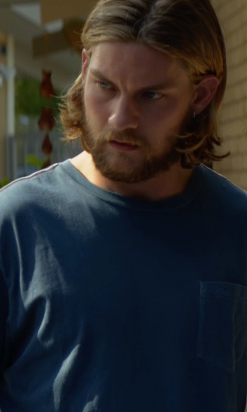 Jake Weary with 7 For All Mankind Raw-Pocket Crewneck T-Shirt in Animal Kingdom