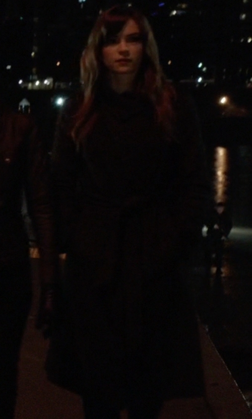 Danielle Panabaker with London Fog Double-Breasted Long Trench Coat in The Flash
