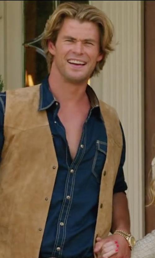 Chris Hemsworth with Acne Studios Isherwood Denim Shirt in Vacation
