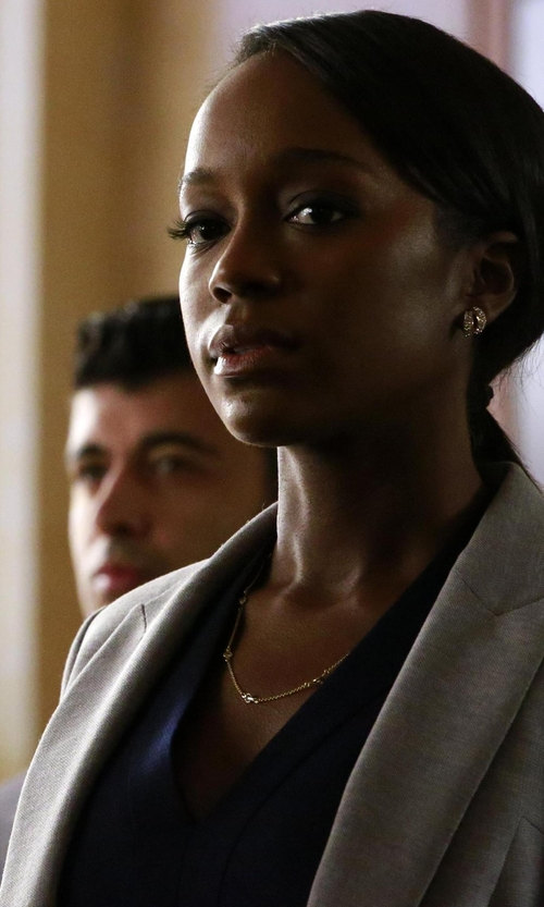 Aja Naomi King with Vince Embroidered-Stitch V-Neck Shirt in How To Get Away With Murder