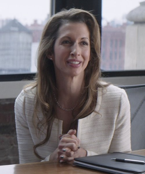 Alysia Reiner with Lafayette 148 New York Essa Tweed Jacket in That Awkward Moment
