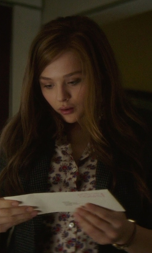 Chloë Grace Moretz with J.Crew Perfect Shirt In Papaya Paisley in If I Stay