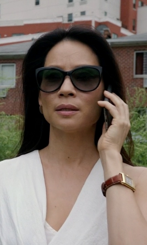 Lucy Liu with Tory Burch Full Rim Cat Eye Sunglasses in Elementary