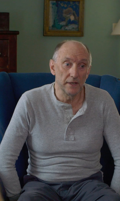 Peter McRobbie with Vince Long Sleeve Henley Sweater in The Visit