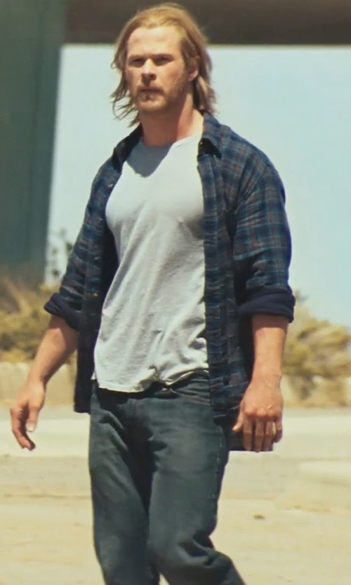 Chris Hemsworth with Agave Denim Pragmatist Classic Cut Denim Jeans in Thor