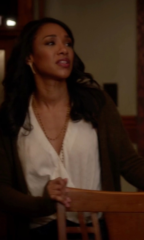 Candice Patton with Zanone Cardigan Sweater in The Flash