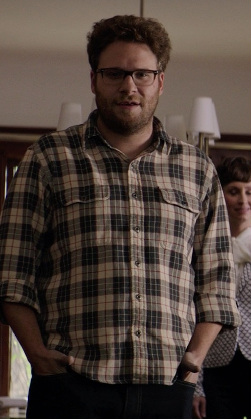 Seth Rogen with Worn Denim Jersey-Lined Flannel Shirt in Neighbors