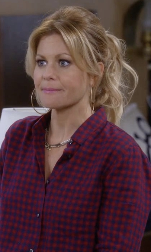 Candace Cameron Bure with Madewell Shrunken Ex-Boyfriend Checked Cotton Shirt in Fuller House
