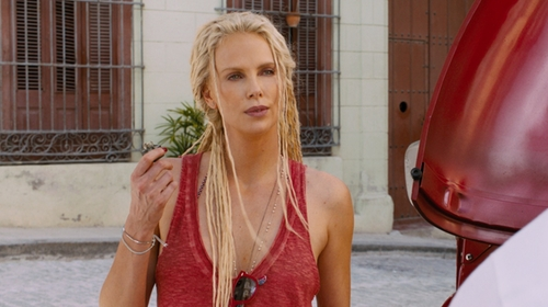 Charlize Theron with Dogeared Paradise Found Y Necklace in The Fate of the Furious