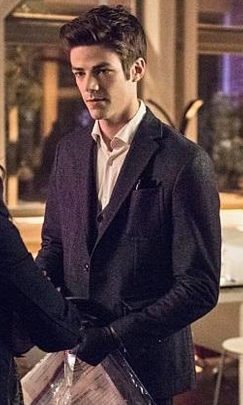 Grant Gustin with Armani Cotton Blend Two Button Blazer in The Flash