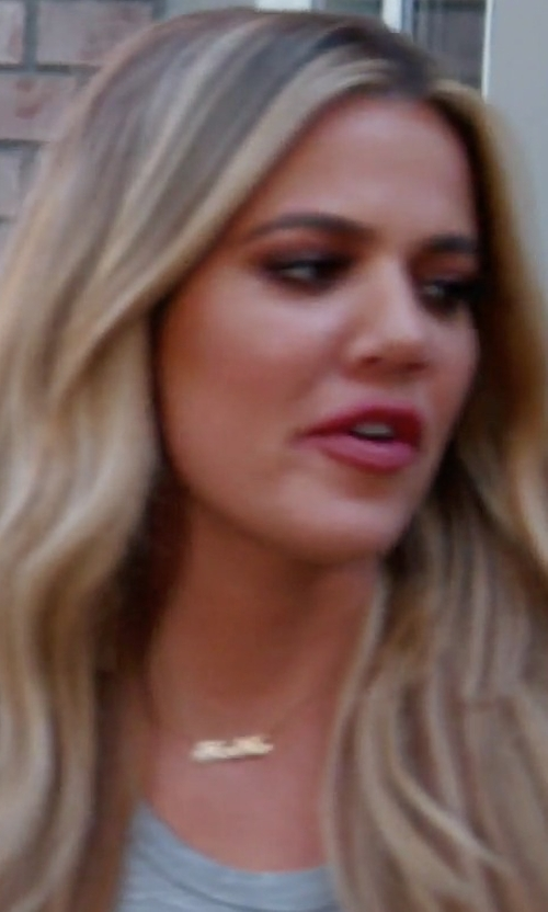 Khloe Kardashian with The Purple Mermaid Inc. Personalized Classic Nameplate Necklace in Keeping Up With The Kardashians