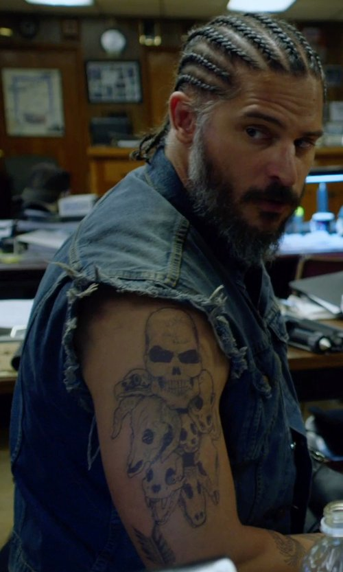 Joe Manganiello with True Religion Earl Sleeveless Denim Jacket in Sabotage