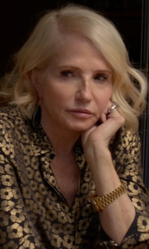 Ellen Barkin with Movado Bold Luxe Goldtone IP Bracelet Watch in Animal Kingdom
