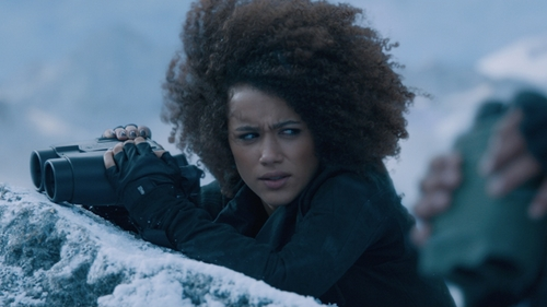 Nathalie Emmanuel with Agnelle Fayed Auto Leather Gloves in The Fate of the Furious