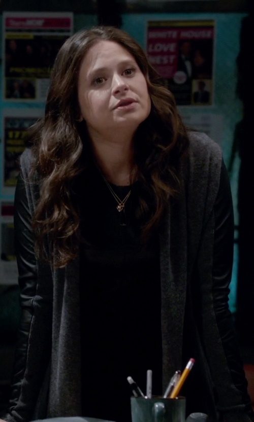 Katie Lowes with The Kooples Wool Cashmere & Leather Cardigan in Scandal