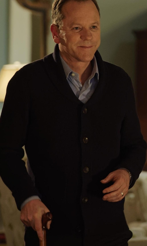 Kiefer Sutherland with Rag & Bone Avery Shawl Cardigan in Designated Survivor