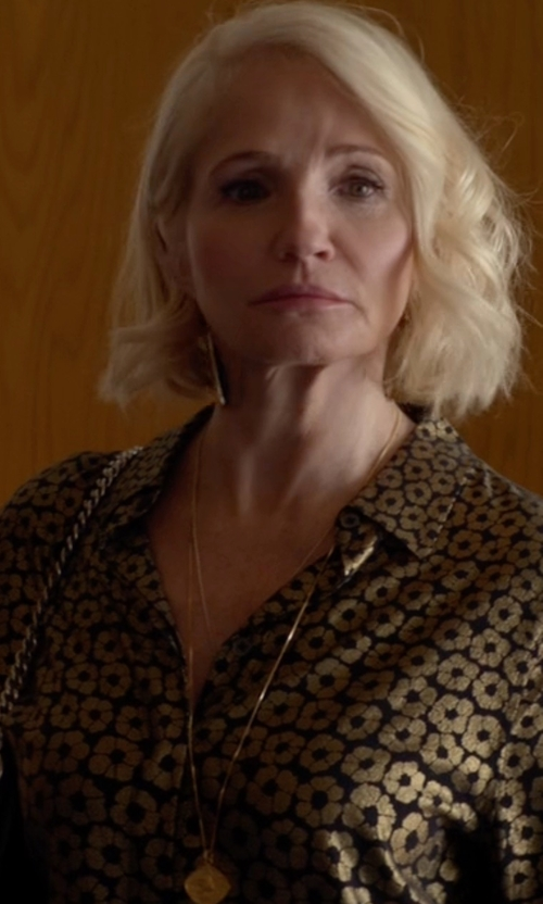 Ellen Barkin with Equipment 'Darcy' Foil Print Silk Blouse in Animal Kingdom